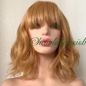 Golden blonde wig wavy layered lace medium length